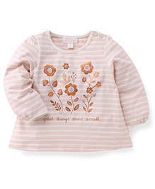 Pumpkin Patch Full Sleeves Top Flower Print - Light Pink