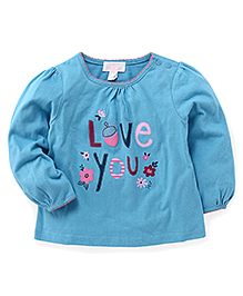 Pumpkin Patch Full Sleeves Top Love You Print - Blue