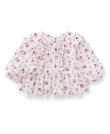 Pumpkin Patch Floral Ruffle Top - White & Pink