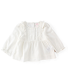 Pumpkin Patch Lace Trim Top - White