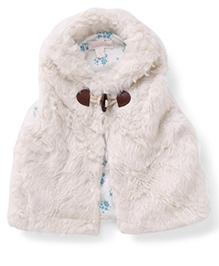 Pumpkin Patch Sleeveless Fluffy Jacket - White