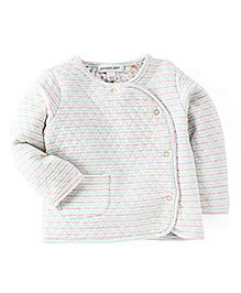 Pumpkin Patch Full Sleeves Stripe Vest - Pink Green