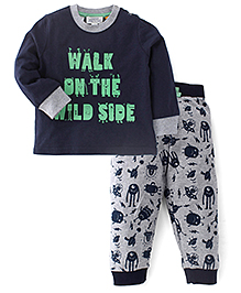 Pumpkin Patch Full Sleeves T-Shirt And Bottoms With Drawstring Text Print - Navy