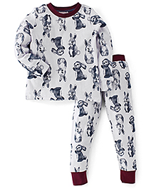 Pumpkin Patch Full Sleeves T-Shirt And Bottoms Rabbit Print - White Maroon