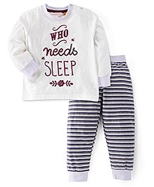 Pumpkin Patch Full Sleeves T-Shirt And Stripe Bottoms Text Print - White Grey
