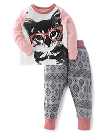 Pumpkin Patch Full Sleeves Top And Leggings Cat Print - Light Pink