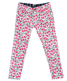 Bella Moda Floral Stretchable Denim - Pink