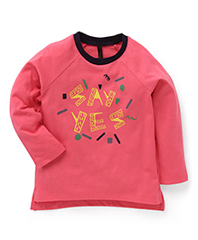 UCB Full Sleeves T-Shirt Text Print - Dark Pink