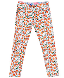 Bella Moda Floral Stretchable Denim - Orange