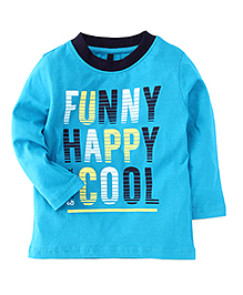 UCB Full Sleeves Printed T-Shirt - Turquoise Blue