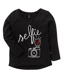 UCB Full Sleeves Top  UCB Full Sleeves Top Selfie Print - Black - Black