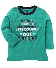 UCB Full Sleeves T-Shirt Text Print - Green
