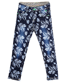 Bella Moda Floral Print Denim - Blue
