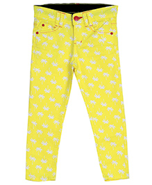 Bella Moda Floral Print Denim - Yellow