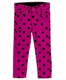 Bella Moda Heart Print Denim - Pink
