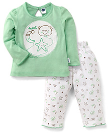 Teddy Full Sleeves Night Suit Sweet Star & Moon Print - Light Green & White