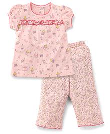 Teddy Short Sleeves Capri Night Suit Allover Print - Light Peach