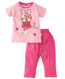 Teddy Half Sleeves Top And Legging Little Friends Print - Light & Dark Pink
