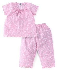 Teddy Half Sleeves Night Suit Floral Print - Pink