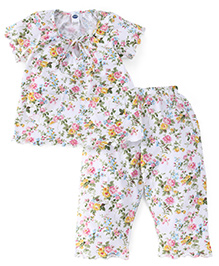 Teddy Half Sleeves Night Suit Floral Print - White