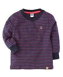 Teddy Full Sleeves Striped T-Shirt - Navy & Orange