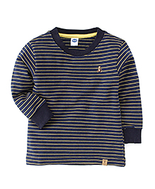 Teddy Full Sleeves Striped T-Shirt - Navy & Yellow
