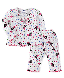 Teddy Full Sleeves Night Suit Star & Teddy Print - White