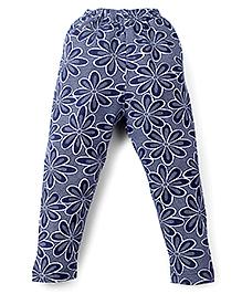 Smarty Full Length Leggings Floral Print - Navy