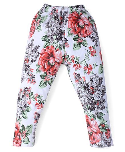 Smarty Full Length Leggings Floral Print - White