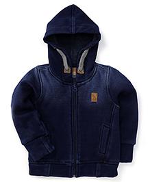 Little Kangaroos Full Sleeves Hooded Denim Jacket - Blue