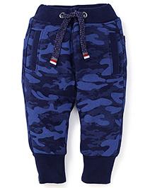 Little Kangaroos Full Length Fleece Camo Design Bottoms - Blue