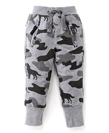 Little Kangaroos Full Length Printed Bottoms - Melange Grey