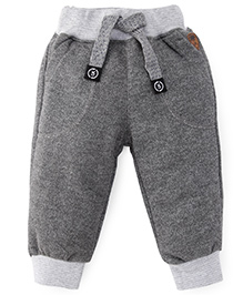 Little Kangaroos Solid Color Track Pant With Drawstrings - Grey