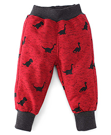 Little Kangaroos Full Length Fleece & Thermal Bottoms With Dino Print - Red