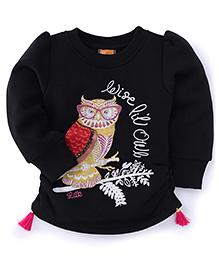 Little Kangaroos Full Sleeves Owl Design Top - Black