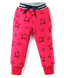 Little Kangaroos Full Length Thermal Bottoms Star Print - Pink
