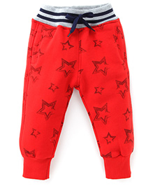 Little Kangaroos Full Length Thermal Bottoms Star Print - Red