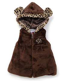 Little Kangaroos Sleeveless Hooded Leopard Design Fur Jacket - Brown