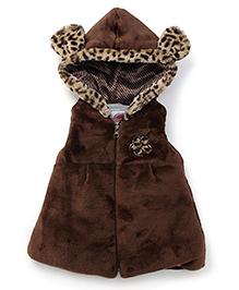 Little Kangaroos Sleeveless Hooded Leopard Design Fur Jacket - Brown
