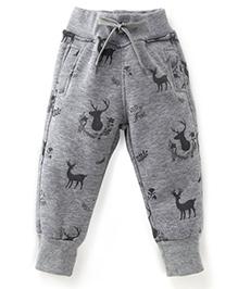 Play by Little Kangaroos Full Length Thermal Bottoms Deer Print - Grey