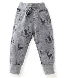 Play by Little Kangaroos Full Length Thermal Bottoms Deer Print - Grey