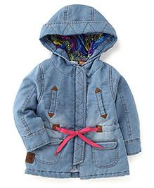 Little Kangaroos Winter Wear Denim Jacket - Light Blue