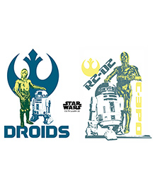 Orka Roids And R2 D2 Digital Printed Wall Decal - Multicolor