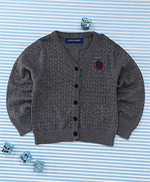 Bambini Kids Soft Front Open Sweater - Grey