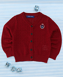 Bambini Kids Soft Front Open Sweater - Red