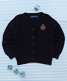 Bambini Kids Soft Front Open Sweater - Dark Blue