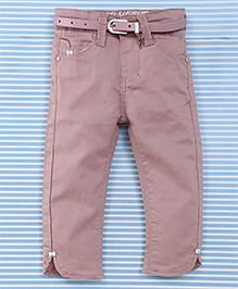 Bambini Kids Girls Pant With Belt - Light Brown