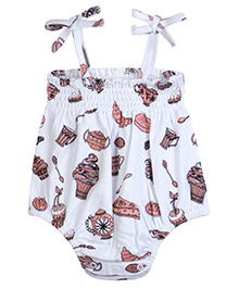 Chic Bambino Romper With Smocking & Bows With Tea Party Design - White