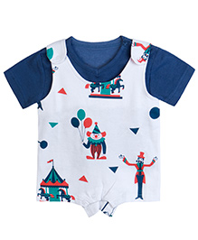 Chic Bambino Romper Set With Circus Design - Navy & White