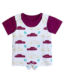 Chic Bambino Romper Set With Racing Car Design - Maroon & White